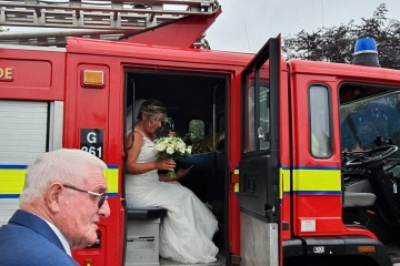 Bride and Groom transport is provided by professional firefighters who are there to meet your every need